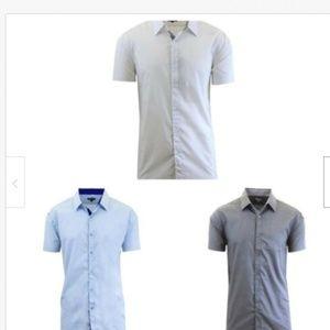 Short Sleeve Slim-Fit Casual Dress Shirt